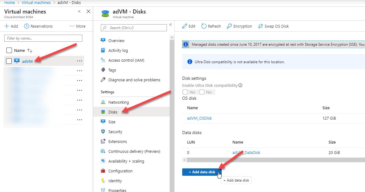 Add data disk