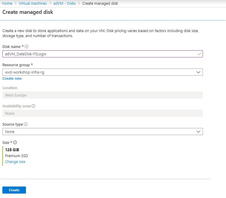Create managed disk