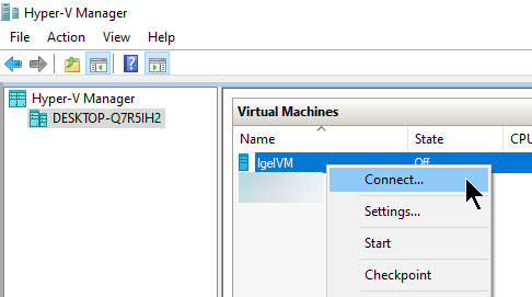 HyperV-ConnectToVm
